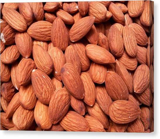 Full Frame Shot Of Almonds Canvas Print by Frank Schiefelbein / Eyeem
