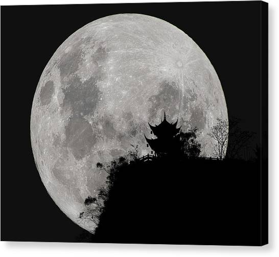 Canvas Print featuring the photograph Full Moon Behind Clifftop Gazebo In Chengdu China by William Dickman