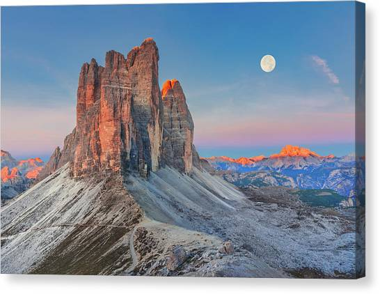 Full Moon Morning On Tre Cime Di Lavaredo Canvas Print