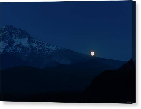 Canvas Print featuring the photograph Full Moon On Mt. Hood Flanks by Dee Browning