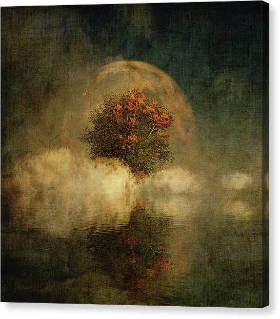 Full Moon Over Misty Water Canvas Print