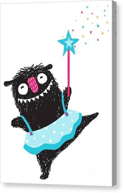 Humorous Canvas Print - Fun Monster Dancing Princess Humorous by Popmarleo
