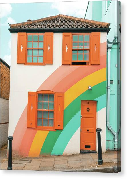 Funky Rainbow House Canvas Print