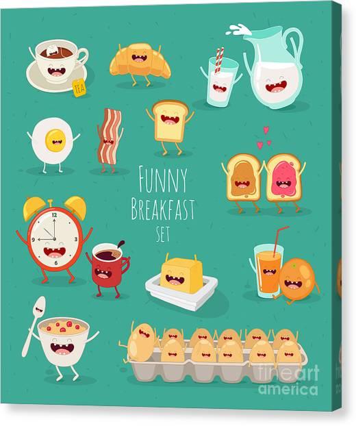 Ingredient Canvas Print - Funny Breakfast Set. Comic Characters by Serbinka
