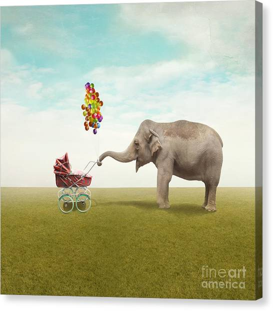 Happiness Canvas Print - Funny Illustration With A Beautiful by Valentina Photos