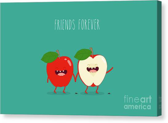 Ingredient Canvas Print - Funny Red Apple. Use For Card, Poster by Serbinka