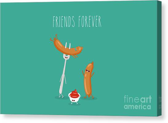 Ingredient Canvas Print - Funny Sausage On A Fork With Ketchup by Serbinka