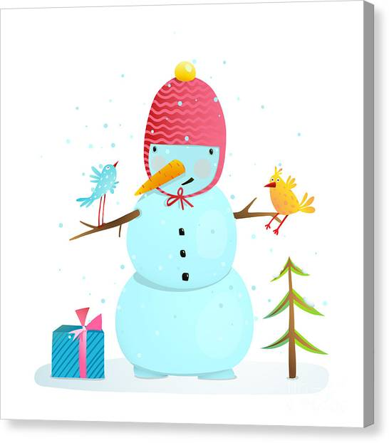 Presents Canvas Print - Funny Snowman With Birds Present And by Popmarleo
