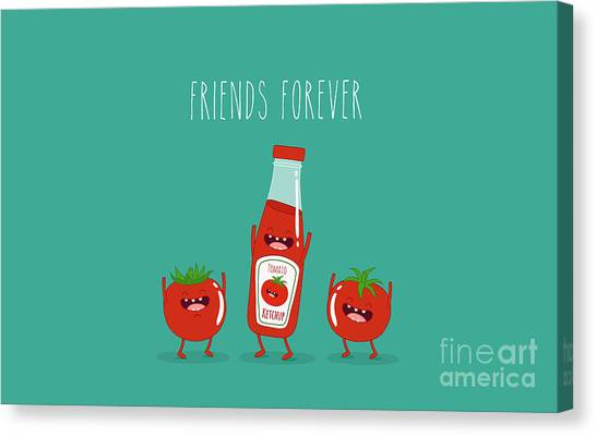Ingredient Canvas Print - Funny Tomato Ketchup And Tomato. Friend by Serbinka