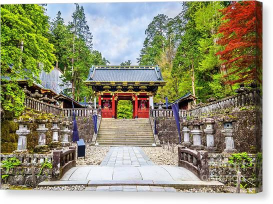 Japanese Gardens Canvas Print - Futarasan Shrine, A Unesco World by Leonid Andronov