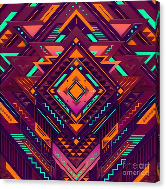 Mexico Canvas Print - Futuristic Colorful Pattern. Triangles by Alx rmnwsky