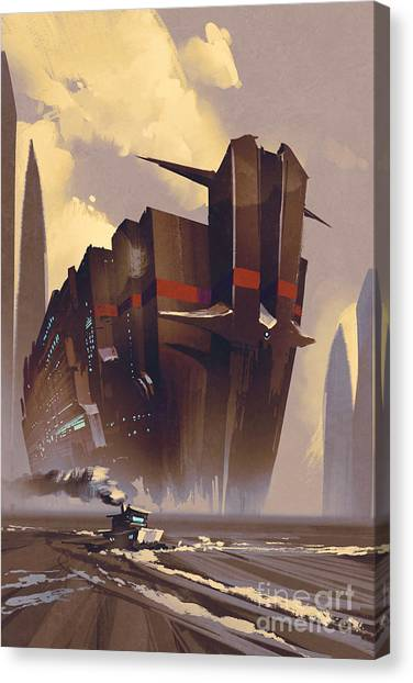 Acrylic Canvas Print - Futuristic Ocean Liner,sci-fi by Tithi Luadthong
