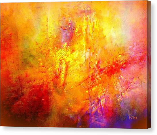 Canvas Print featuring the painting Galaxy Afire by VIVA Anderson