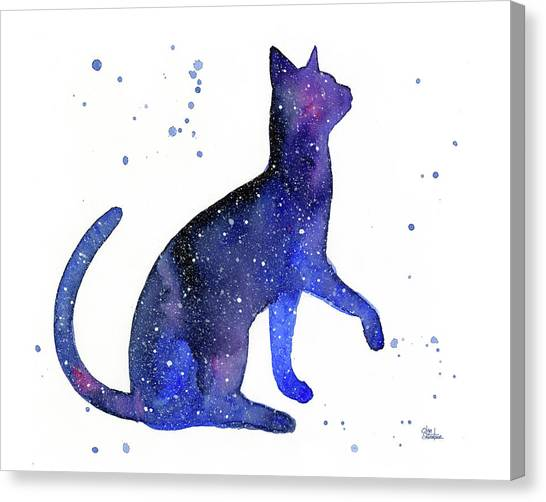 Celestial Canvas Print - Galaxy Cat by Olga Shvartsur