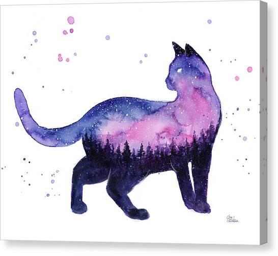 Celestial Canvas Print - Galaxy Forest Cat by Olga Shvartsur