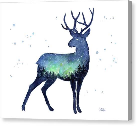 Celestial Canvas Print - Galaxy Reindeer Silhouette by Olga Shvartsur