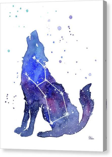 Celestial Canvas Print - Galaxy Wolf - Lupus Constellation by Olga Shvartsur