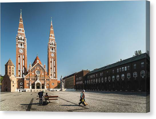 Canvas Print featuring the photograph Garbage Cleaners On Dom Square In Szeged  by Milan Ljubisavljevic