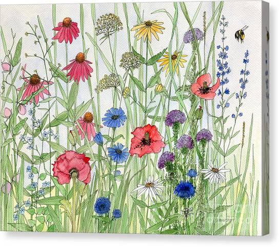 Garden Flower Medley Watercolor Canvas Print