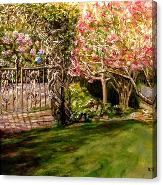 Garden Gate At Evergreen Arboretum Canvas Print