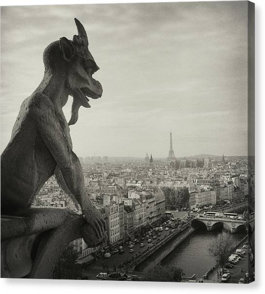 Eiffel Tower Canvas Print - Gargoyle Of Notre Dame by Zeb Andrews