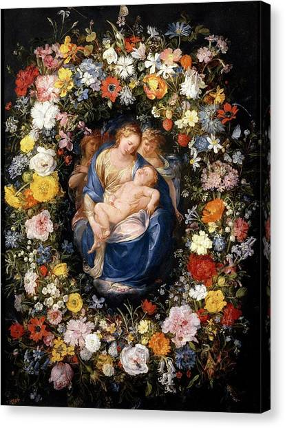 Procaccini Canvas Print - 'garland With The Virgin, The Christ Child An... by Jan Brueghel the Elder -1568-1625- Giulio Cesare Procaccini -c 1570-1625-