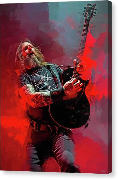 Jeff Hanneman Canvas Print - Gary Holt, Slayer by Mal Bray