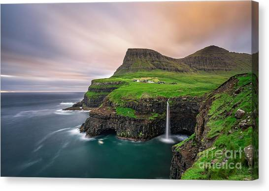 Stunning Canvas Print - Gasadalur Village And Its Iconic by Nick Fox