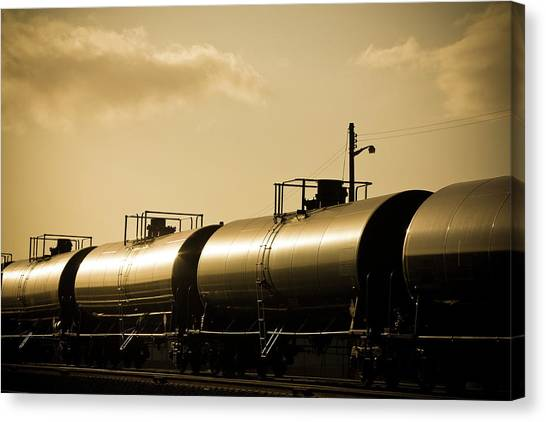 Chemicals Canvas Print - Gasoline Train At Sunset by Halbergman