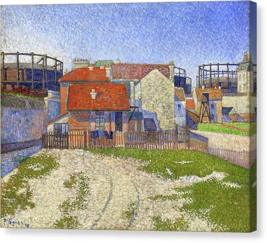 Signac Canvas Print - Gasometers At Clichy - Digital Remastered Edition by Paul Signac