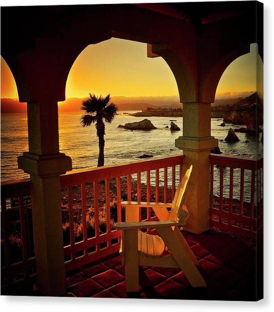 Gazebo View Of Central California Coast Canvas Print