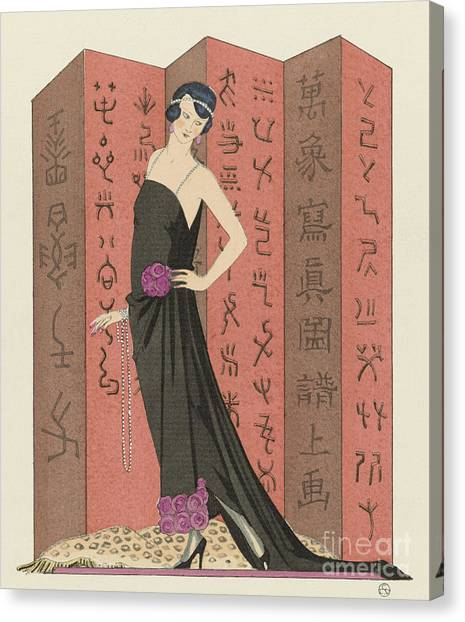 Fashion Plate Canvas Print - Gazette Du Bon Ton, 1921 Le Paravent Rouge  by Georges Barbier