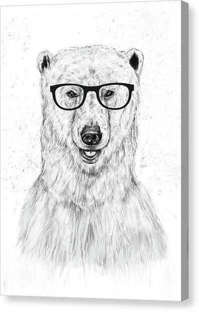 Black And White Canvas Print - Geek Bear by Balazs Solti