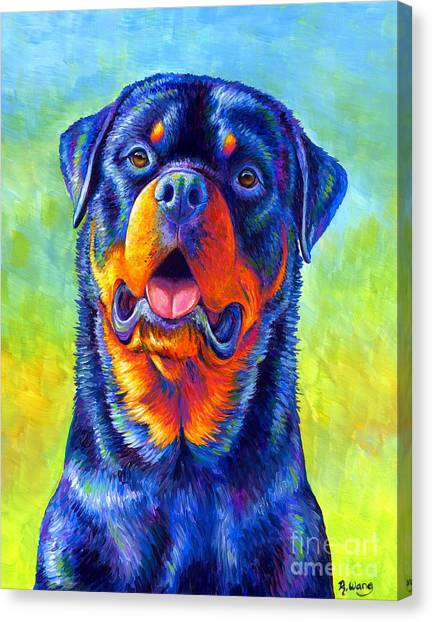 Gentle Guardian Colorful Rottweiler Dog Canvas Print