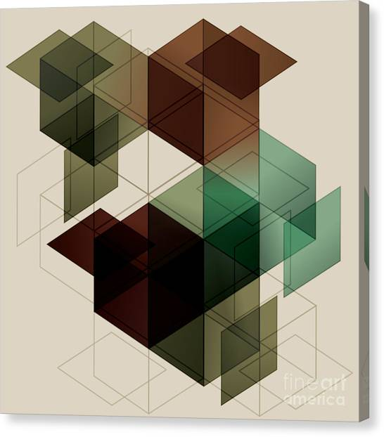 Block Canvas Print - Geometric Cube Background. Eps10 With by Transfuchsian