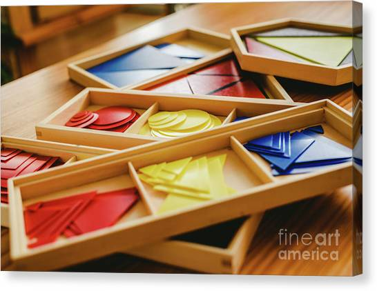 Geometric Material In Montessori Classroom For The Learning Of Children In Mathematics Area. Canvas Print
