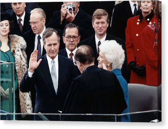 George Bush Canvas Print - George Bush Sr. Taking Oath - 1989 by War Is Hell Store