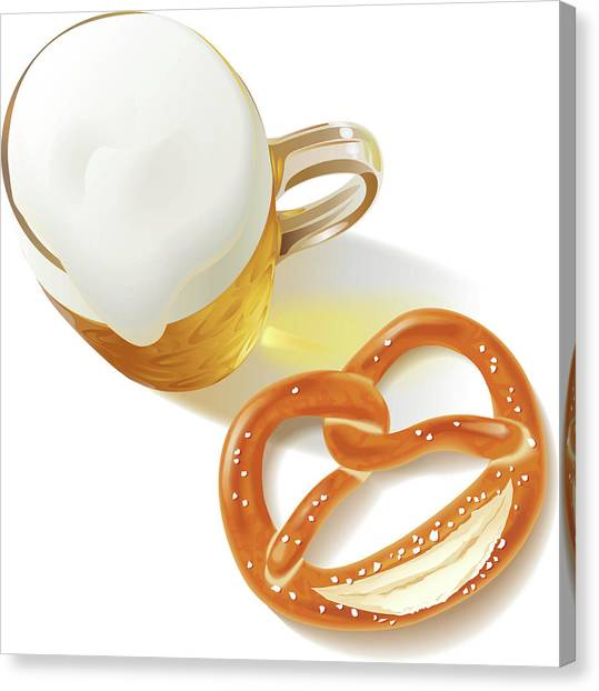 German Beer Glass And  Pretzel Canvas Print