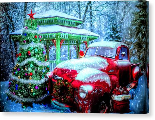 Rusty Truck Canvas Print - Getting Ready For Christmas by Debra and Dave Vanderlaan