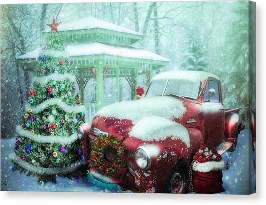 Rusty Truck Canvas Print - Getting Ready For Christmas On A Misty Morning by Debra and Dave Vanderlaan