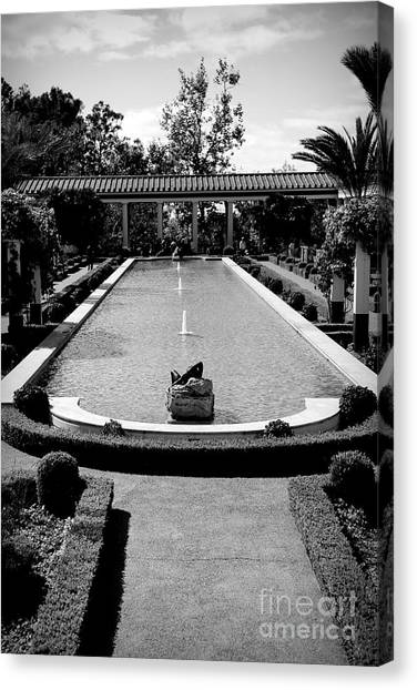 J Paul Getty Canvas Print - Getty Villa Massive Pool Black White Landscape  by Chuck Kuhn