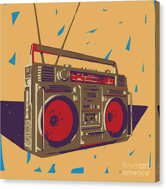 Ghetto Blaster Boombox Graphic Canvas Print by Iz Stock Works