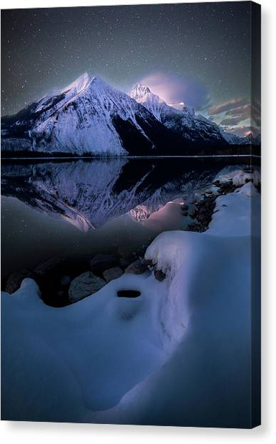 Ghost In The Darkness / Lake Mcdonald, Glacier National Park  Canvas Print