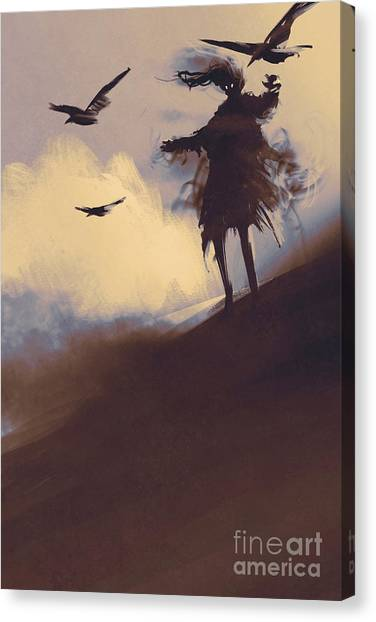 Shadow Canvas Print - Ghost With Flying Crows In The by Tithi Luadthong