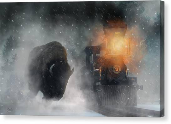 Canvas Print featuring the digital art Giant Buffalo Attacking Train by Daniel Eskridge