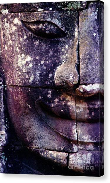 Worship Canvas Print - Giant Smiling Face Bayon Temple, Angkor by D'july