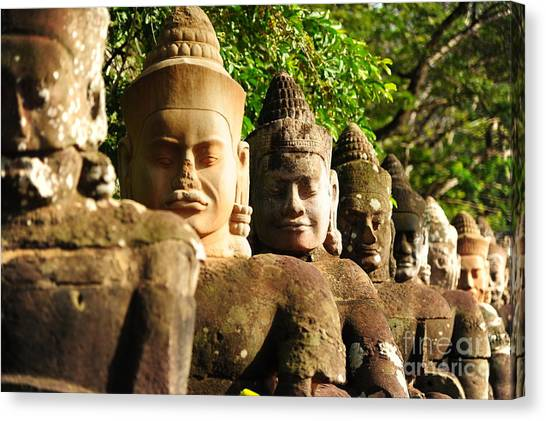 Worship Canvas Print - Giants In Front Gate Of Angkor Thom by Karinkamon