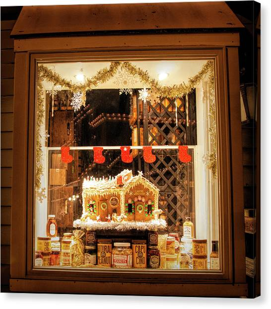 Canvas Print featuring the photograph Gingerbread Holiday Window by Kristia Adams