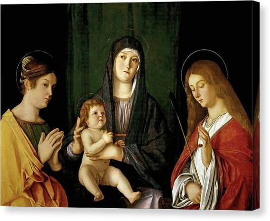 Gateway Arch Canvas Print - Giovanni Bellini -and Workshop- 'the Virgin And Child Between Two Saints', Ca. 1490, Italian School. by Giovanni Bellini -1430-1516-