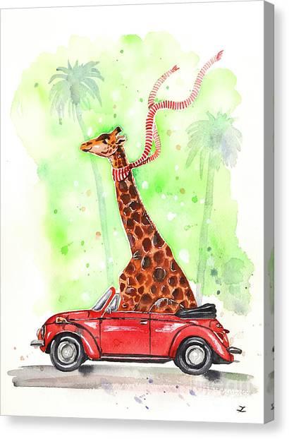 Giraffe In A Beetle Canvas Print